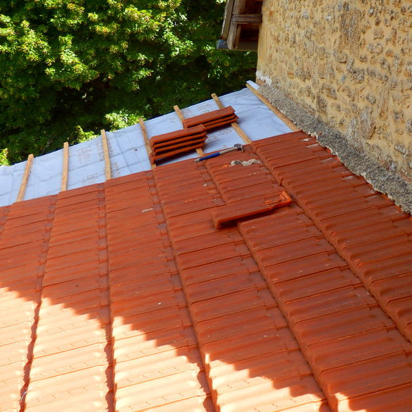 A Tile Roof Under Construction.