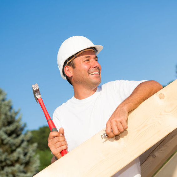 A Roofer With a Red Hammer.