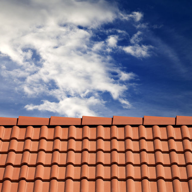 A Tile Roof Against a Blue Sky.
