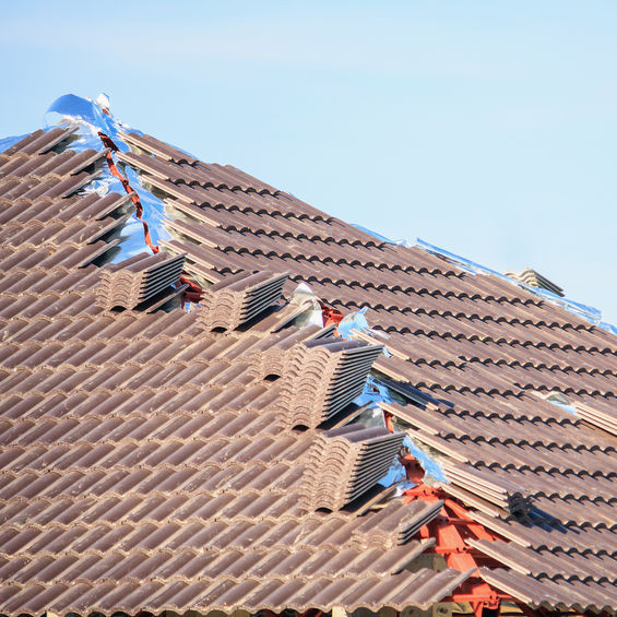 A Roof With Concrete Tiles.